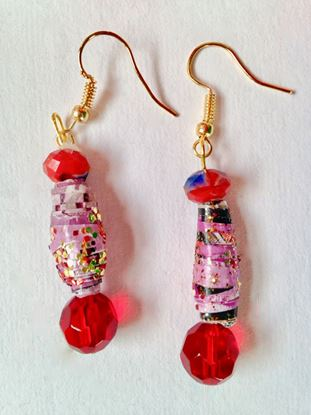 Picture of Earrings, Red and pink