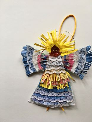 Picture of Angel mimi ornament with yellow hair and lace
